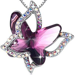 Butterfly Crystal Necklace with Premium Birthstone